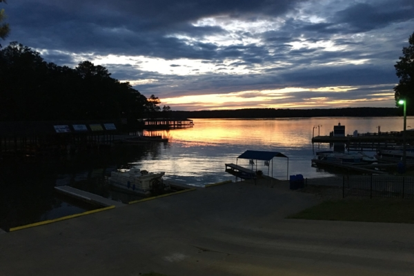 Sun setting over the water at Morningstar Marinas Eaton Ferry
