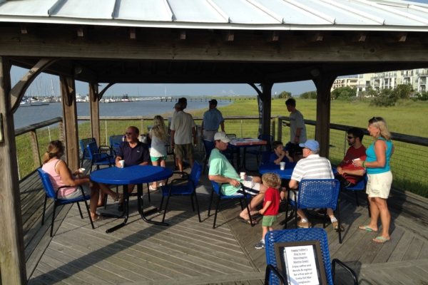 Father's Day celebration with donuts at Morningstar Marinas Golden Isles gazebo