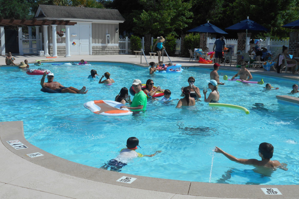 Members swimming in the pool at Reserve Harbor Yacht Club