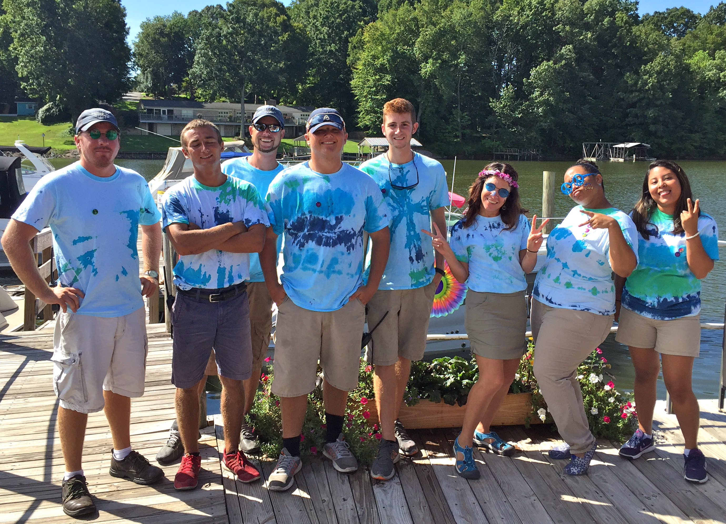 Morningstar Marinas Skippers Landing staff members in tie-dye shirts for a 70's themed party