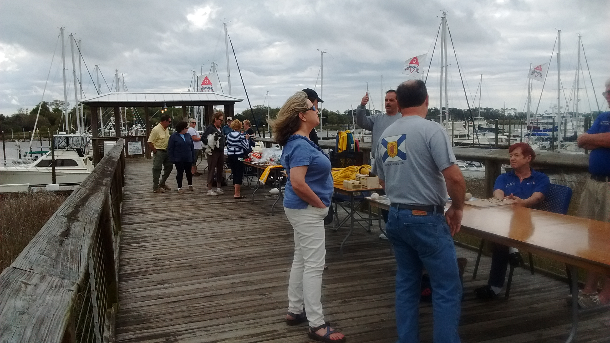 Group gathered at Morningstar Marinas Golden Isles dock during a boat show