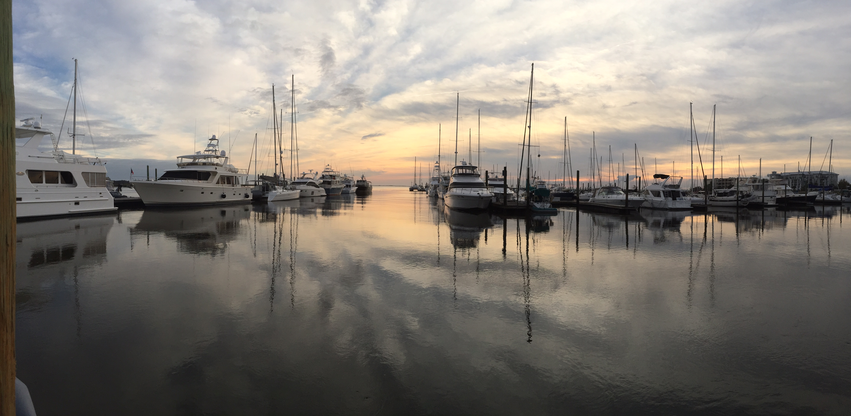 Sun rising over the water and boats at Morningstar Marinas Golden Isles