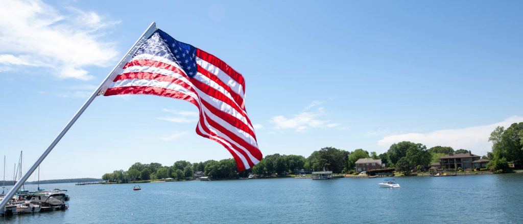 American Flag Above Lake Norman